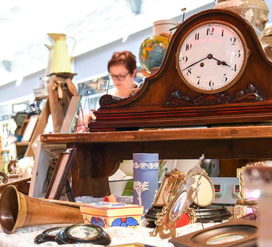 kundin stoebert durch den antikmarkt